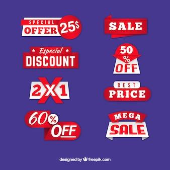 Lindo conjunto de emblemas de vendas