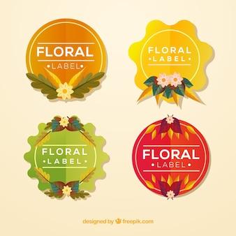 Lindo conjunto de emblemas florais
