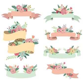 Lindo conjunto de estandartes florais