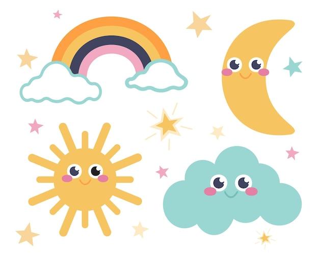 Lindo conjunto de estrelas, luas, arco-íris, nuvens e o sol em um estilo de desenho animado plano em um fundo branco