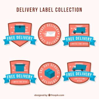 Lindo conjunto de etiquetas de entrega