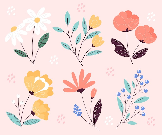 Lindo conjunto de flores de primavera