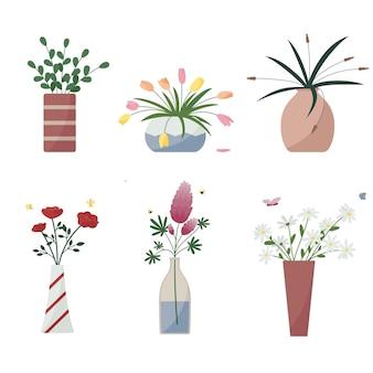 Lindo conjunto de flores em vasos. ilustração vetorial
