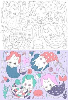 Lindo conjunto de gatos sereia em cores, conchas, tema marinho, ilustração infantil
