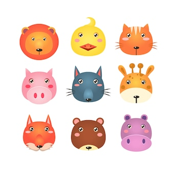 Lindo conjunto de ilustração de cabeças de animais dos desenhos animados