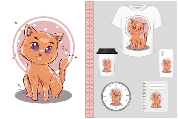 Lindo conjunto de ilustração de desenho animado de gato