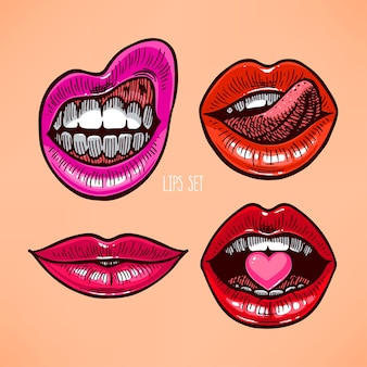 Lindo conjunto de lábios diferentes