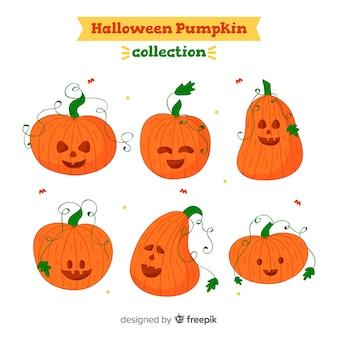 Lindo conjunto de mão desenhada abóboras de halloween