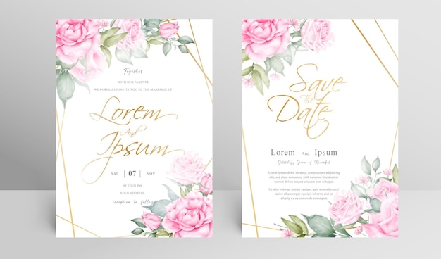 Lindo conjunto de modelos de cartão de convite de casamento