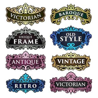 Lindo conjunto de molduras retrô vintage