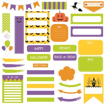Lindo conjunto de notas de papel de halloween. planejador para impressão.