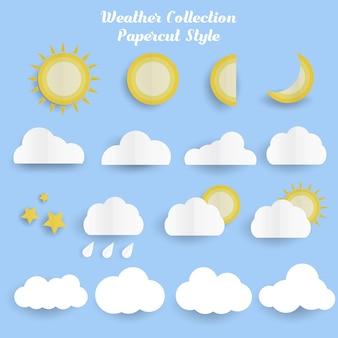 Lindo conjunto de nuvem com sol e lua clima