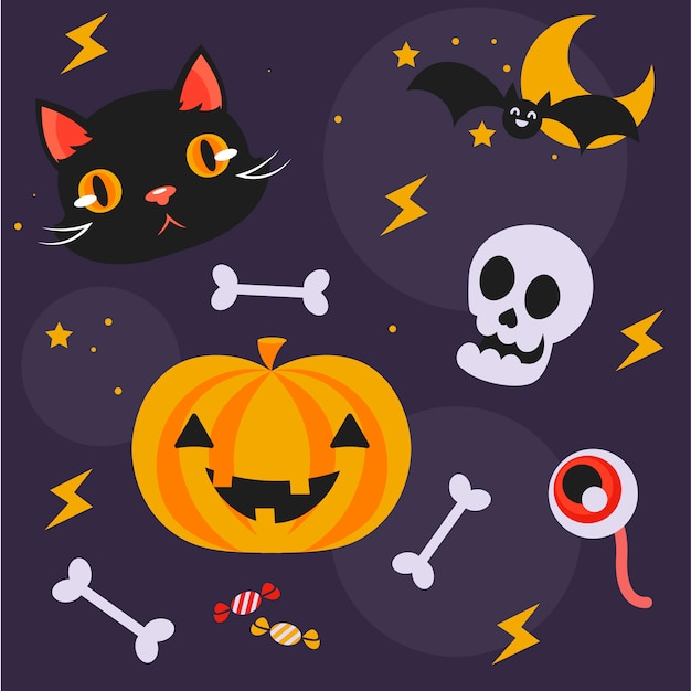 Lindo conjunto de objetos para o halloween