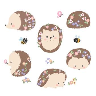 Lindo conjunto de ouriço de primavera desenhado à mão