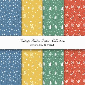 Lindo conjunto de padrões de inverno colorido