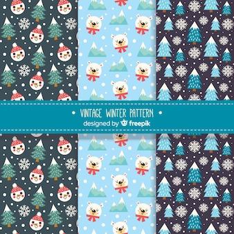 Lindo conjunto de padrões de inverno mão desenhada