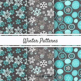 Lindo conjunto de padrões de inverno