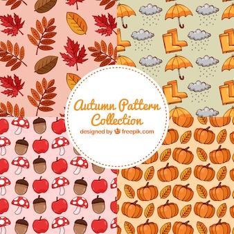 Lindo conjunto de padrões de outono coloridos