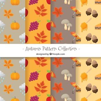 Lindo conjunto de padrões de outono mão desenhada