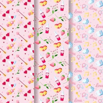 Lindo conjunto de padrões para o dia dos namorados