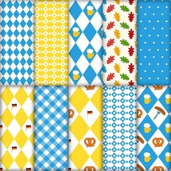 Lindo conjunto de padrões tradicionais sem emenda de octoberfest