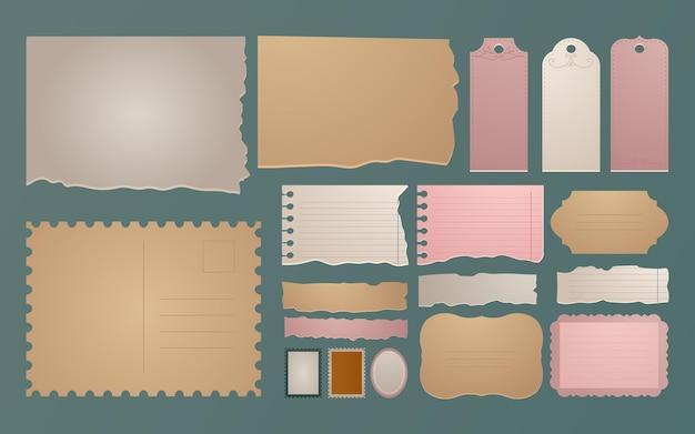 Lindo conjunto de papel para álbum de recortes vintage