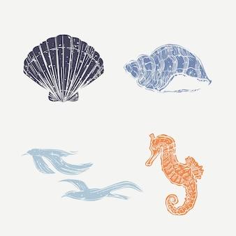 Lindo conjunto de pássaros e animais subaquáticos de linogravura