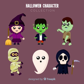 Lindo conjunto de personagens de halloween com design plano