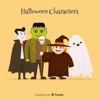 Lindo conjunto de personagens de halloween com design plano