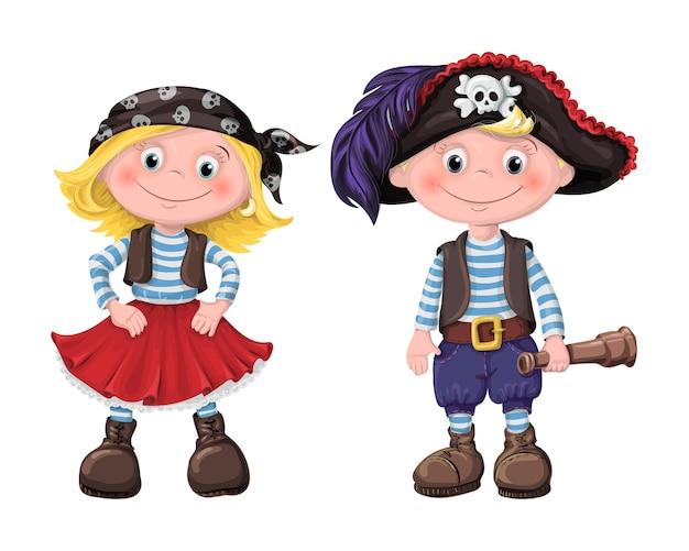 Lindo conjunto de piratas de crianças
