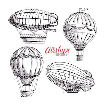 Lindo conjunto de quatro diferentes dirigíveis vintage. desenhado à mão