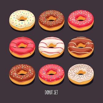 Lindo conjunto de rosquinhas de desenho animado apetitosas com granulado