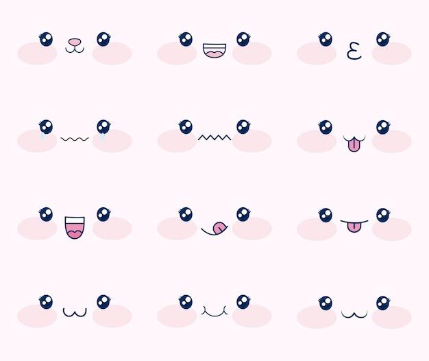 Lindo conjunto de rostos kawaii