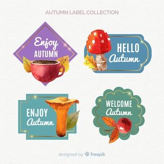 Lindo conjunto de rótulos de outono em aquarela