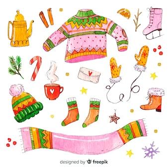 Lindo conjunto de roupas de inverno em aquarela