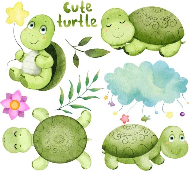 Lindo conjunto de tartarugas verdes, folhas, nuvens, pintadas em aquarela.