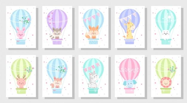 Lindo conjunto de vetores de cartão de saudação de crianças