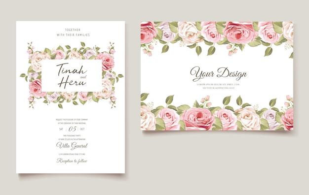 Lindo conjunto floral de cartão de casamento