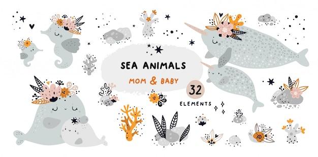 Lindo conjunto infantil com animais marinhos e elementos de recife de coral