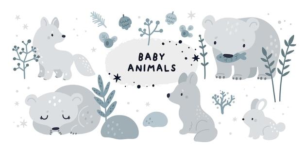 Lindo conjunto infantil com filhotes de animais árticos