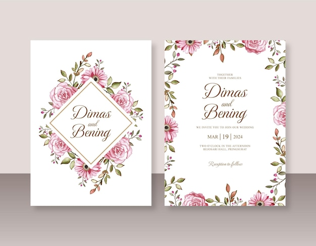 Lindo convite de casamento com aquarela floral pintada à mão