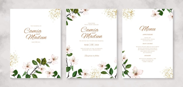 Lindo convite de casamento com aquarela floral