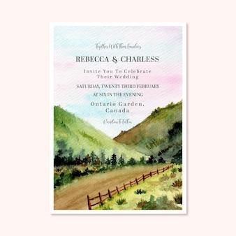 Lindo convite de casamento com aquarela paisagem de fundo