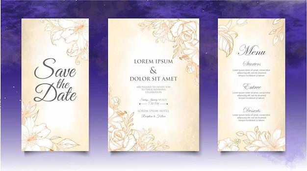 Lindo convite de casamento com elementos florais