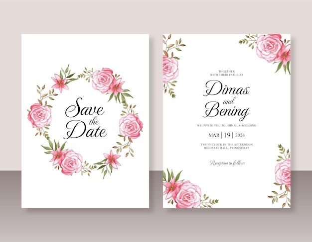Lindo convite de casamento com flores em aquarela