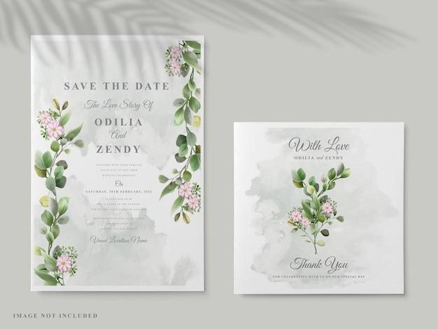 Lindo convite de casamento com mão floral elegante desenhada