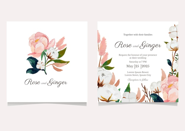 Lindo convite de casamento de flores Vetor Premium