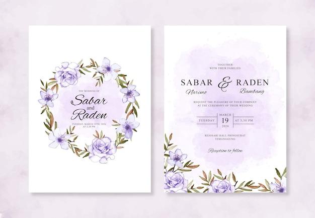 Lindo convite de casamento pintado à mão em aquarela floral