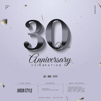 Lindo convite para celebração do 30º aniversário com número de prata