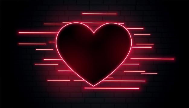 Lindo coração neon romântico